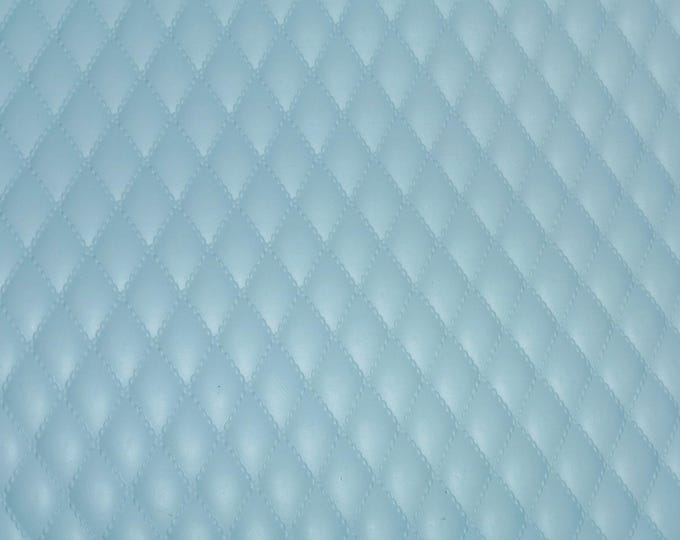 """Leather 12""""x12"""" Quilted POWDER BLUE on blue 1/2"""" Pattern Cowhide 2.5-3 oz / 1-1.2 mm PeggySueAlso™ E2911-11 Limited"""