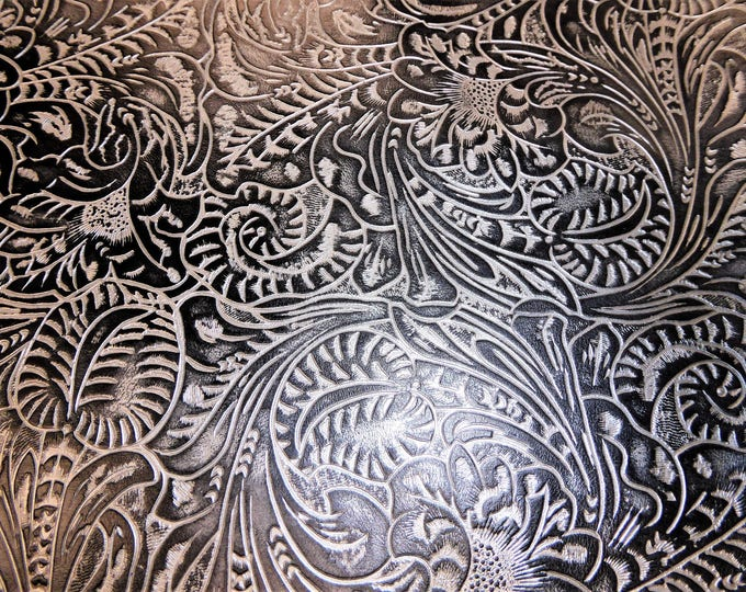 """Metallic Leather 20""""x20"""" Western Tool Floral leaf SILVER and BLACK Cowhide 2.5-2.75 oz/1-1.1 mm PeggySueAlso™ E2838-10 hides available"""