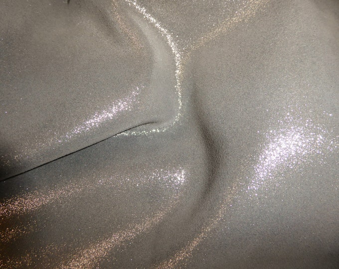 "Metallic Leather 8""x10"" Dazzle Silver on GRANITE GRAY Silver Cowhide 2.5 oz / 1 mm PeggySueAlso™ E8300-02 Hides available"