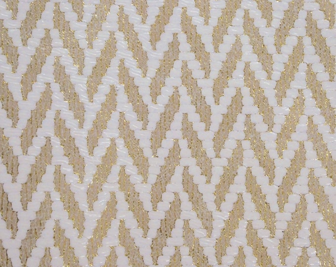"Leather 8""x10"" Chevron Light GOLD and WHITE Cowhide 3.75-4 oz / 1.5-1.6 mm PeggySueAlso™ E1601-02 Hides Available"