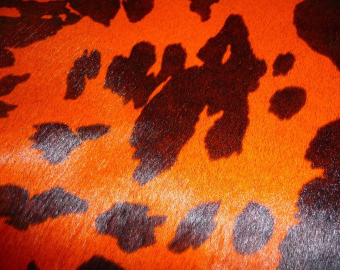 "Hair On Leather 8""x10""  Thick ORANGE and BLACK Spotted Pony print Calfskin HOH 6-7 oz / 2.4-2.8mm PeggySueAlso™"