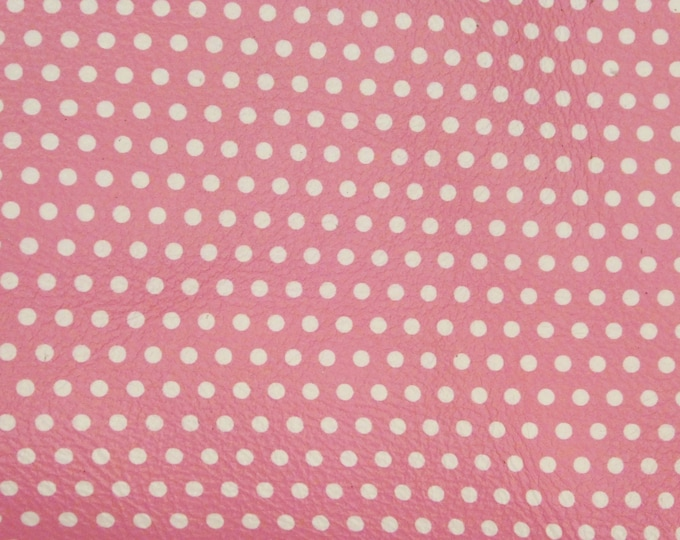 Leather 7-8-9-10-11-12 sqft Small WHITE Polka Dots on PINK DP (gray backside) Cowhide 4 dots-inch 3 oz/1.2 mm PeggySueAlso™ E3090-54