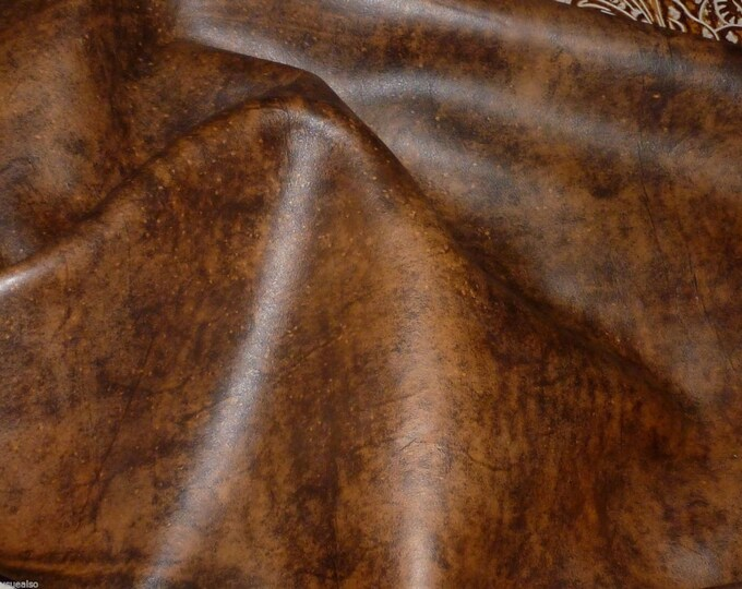 Leather 3-4-5 or 6 sq ft Artisan Tie Dye WHISKEY BROWN Cowhide 3-3.5 oz / 1.2-1.4 mm PeggySueAlso™ E2920-04 hides available