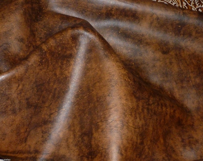 """Leather 8""""x10"""" Artisan Tie Dye WHISKEY BROWN Cowhide 3-3.5 oz / 1.2-1.4 mm PeggySueAlso™ E2920-04 hides available"""