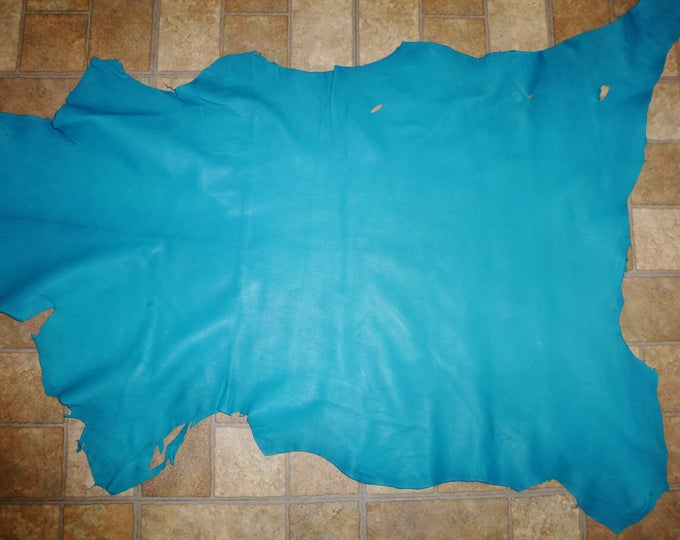 Leather 6 - 7 sq ft Turquoise Cationic Finished Goatskin (NOT this hide, a similer one) 2.5 oz / 1 mm PeggySueAlso™ E2787-06
