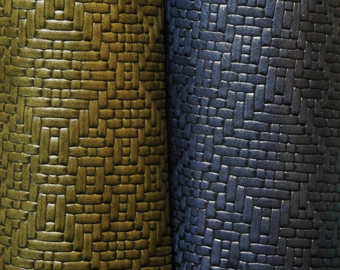 "Leather 8""x10"" DIAMOND WEAVE Embossed on our Riviera collection Cowhide 2.5-2.75 oz/ 1-1.1 mm PeggySueAlso™ E8060"