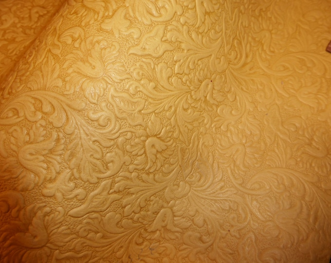 Leather CLOSE0UT various sizes Distressed Western Saddle Dark Pale Yellow Embossed LAMBSKIN 1.75 oz / .6mm #360 #100 #113 E2815-01