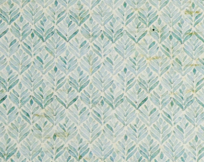 """Cork 12""""x12"""" ARABESQUE Seafoam LEAVES  on CoRK backed with Leather Thick 5.5 oz/2.2 mm PeggySueAlso™ E5610-307"""