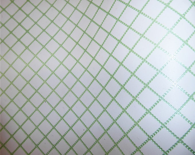 "Metallic Leather CLOSE0UT Chain Quilted Pattern MINT GREEN  1/2"" on WHITE Cowhide 3-3.5 oz / 1.2-1.4 mm #459 #100  PeggySueAlso™ E3450-02"