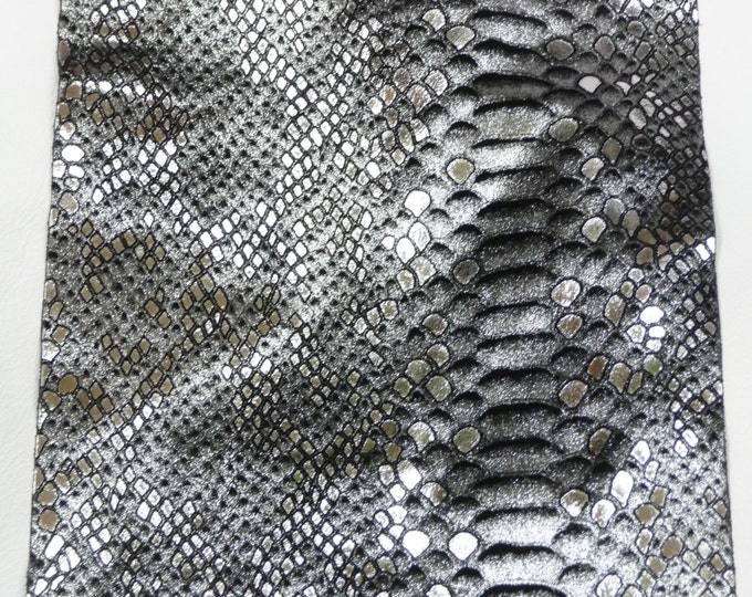 "Metallic Leather 12""x20"" Mystic Python SILVER and BLACK glimmery Cowhide 2.5-3 oz / 1-1.2 mm PeggySueAlso™ E2868-01 hides available"