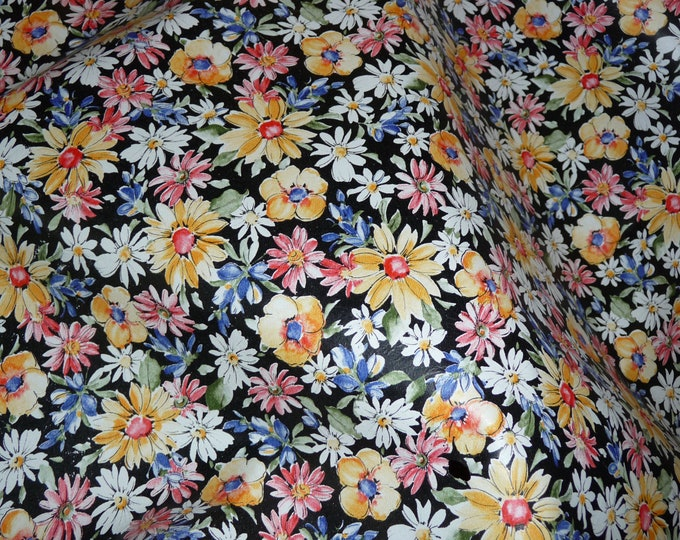 """Leather 12""""x20"""", 15""""x15""""...BLACK Flower Garden COWHIDE multicolored Floral pattern 2.5-3 oz / 1-1.2 mm PeggySueAlso™ E2176-01A limited"""