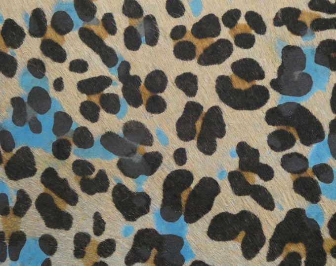 "Hair On Leather 8""x10"" Turquoise and Camel Leopard Cowhide HOH (Not pretty Turquoise suede back) 4.5-5oz/1.8-2mm PeggySueAlso™ E2852-27B"