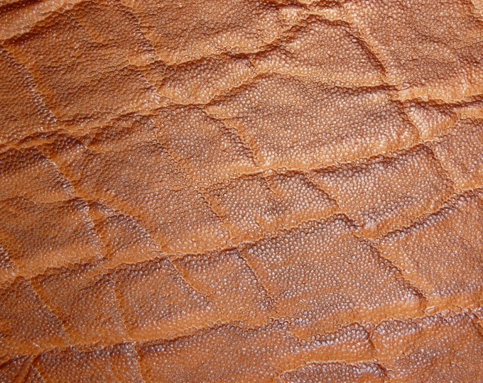 "Leather 5""x11"" Elephant OAK TAN Brown Embossed Cowhide 2.5-3 oz / 1-1.2 mm PeggySueAlso™ E2899-17 Full hides available"