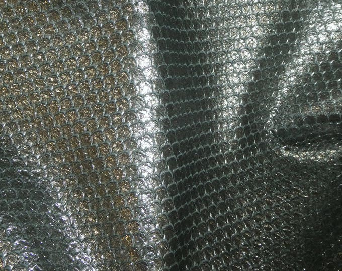 """Leather 8""""x10"""" PEWTER Metallic CUT Cobra Cowhide 2.5-2.75 oz / 1-1.1 mm PeggySueAlso™ E1125-01 hides available"""