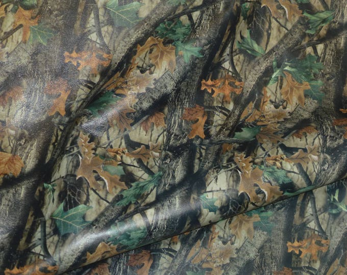 "Leather CLOSEOUT 8""x10"" or 12""x12"" CAMO Hunter Woodland on GRAY Cowhide 2.75 oz / 1.1 mm PeggySueAlso™ E5450-03"
