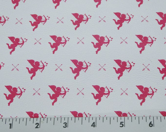 "Leather 12""x12"" Hot Pink CUPID and Arrows on Bright White Cowhide 3 oz/ 1.2 mm PeggySueAlso™ E1380-12 Hides Available Valentine"
