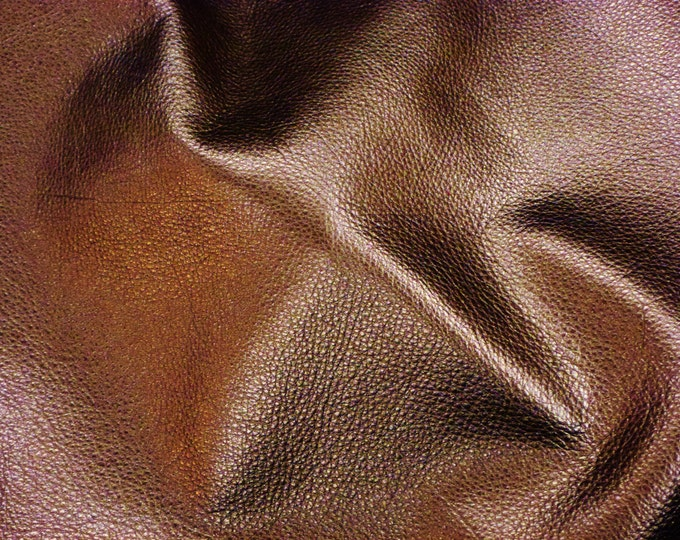 "BRONZE Pebbled Metallic 12""x12"" SOFT cowhide - shows the grain - Leather 3-3.25 oz / 1.2-1.3 mm PeggySueAlso™ E4100-08"