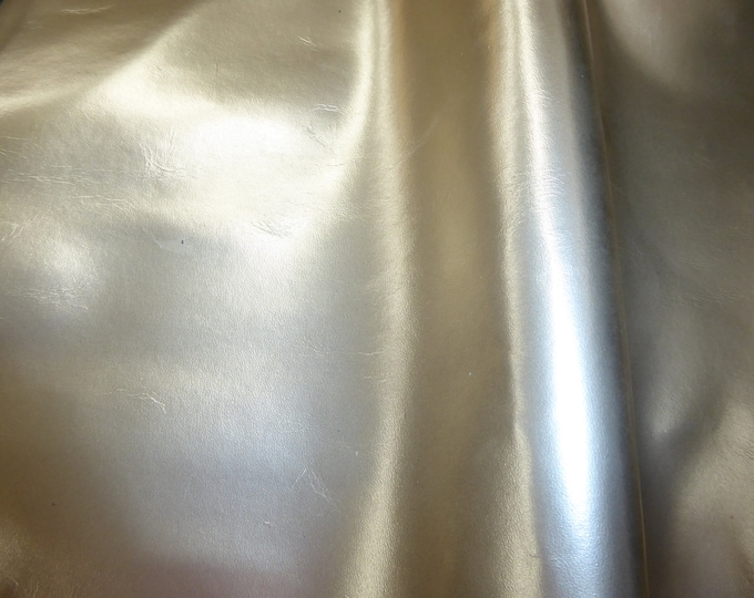 "Metallic Leather 12""x20"", 10""x24""....Smooth Platinum/Champagne Metallic Cowhide 2.25-2.5oz/ 0.9-1.1mm PeggySueAlso™ E2845-11 hides available"