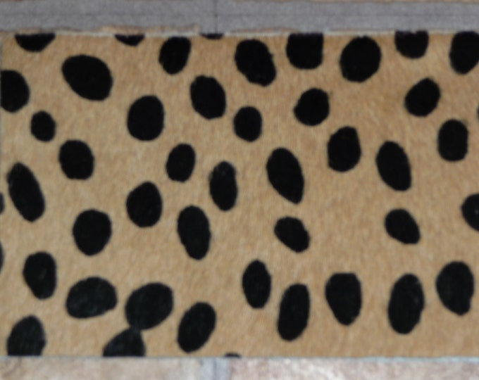 "Hair On Leather 2 Pieces of 4""x6"" Wild Cheetah Creamy Camel with BLACK HOH Spotted Cowhide PeggySueAlso™"