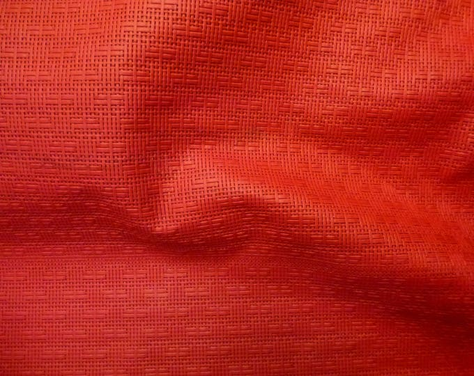 """Leather 8""""x10"""" Panama RED Basket Weave Embossed Cowhide 2-2.5 oz/0.8-1 mm PeggySueAlso™ E8000-02 hides available"""