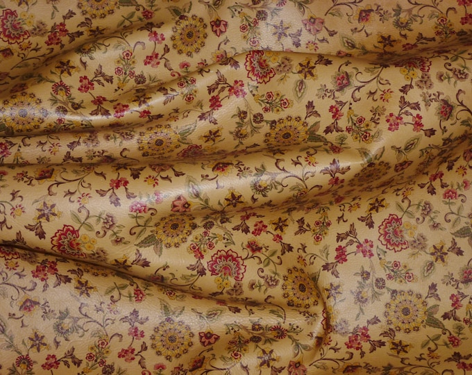 """Leather 12""""x20"""", 15""""x15"""", 14""""x17"""" or 10""""x24"""" Kimono HONEY Spring Flowers on Cowhide 3 oz / 1.2 mm PeggySueAlso™ E5202-01 hides available"""