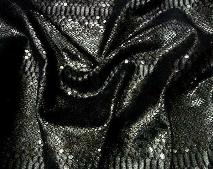 "Metallic Leather 8""x10"" Mystic Python ANTHRACITE on BLACK Suede Cowhide 3-3.5 oz / 1.2-1.4 mm PeggySueAlso™ E2868-39 Full hides available"