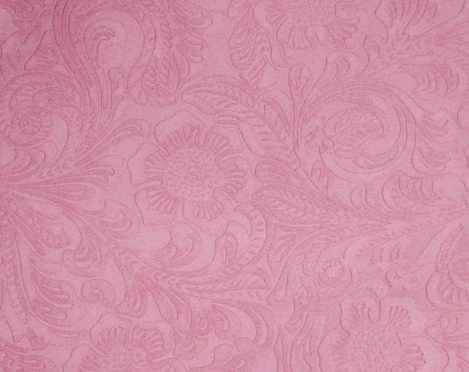 "SUEDE Leather 12""x12"" Etched Pink DAISY Floral / Flower Cowhide Totally Matte Thick 4-4.5oz/1.6-1.8mm PeggySueAlso™ E2875-10 hides too"