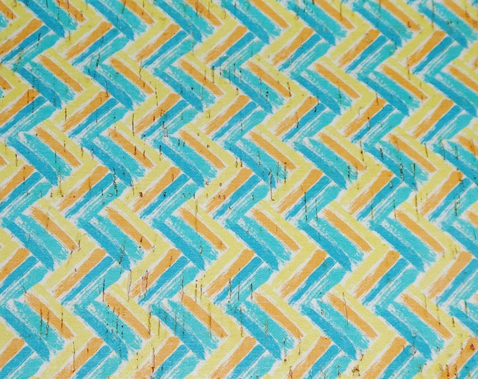 """Cork 5""""x11"""" TEAL / YELLOW CHEVRON applied to CoRK on Leather 4 body/strength Thick 5oz/2mm PeggySueAlso™ E5610-68 hides too"""