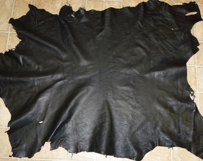 "Leather 6 - 7 sq ft Black fine grain Goatskin Leather Hide 32""x24"" 2.5 oz / 1 mm  PeggySueAlso™"