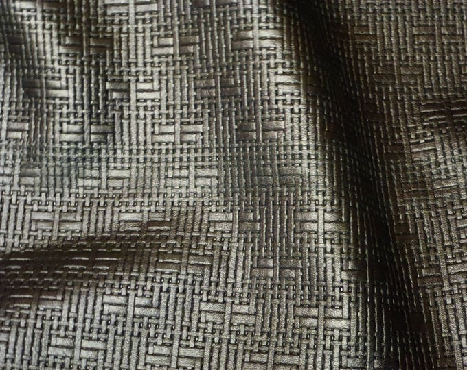 "Leather 12""x12"" Panama PEWTER METALLLIC Soft Basket Weave Embossed Cowhide 2-2.5 oz/0.8-1 mm PeggySueAlso™ E8000-10"