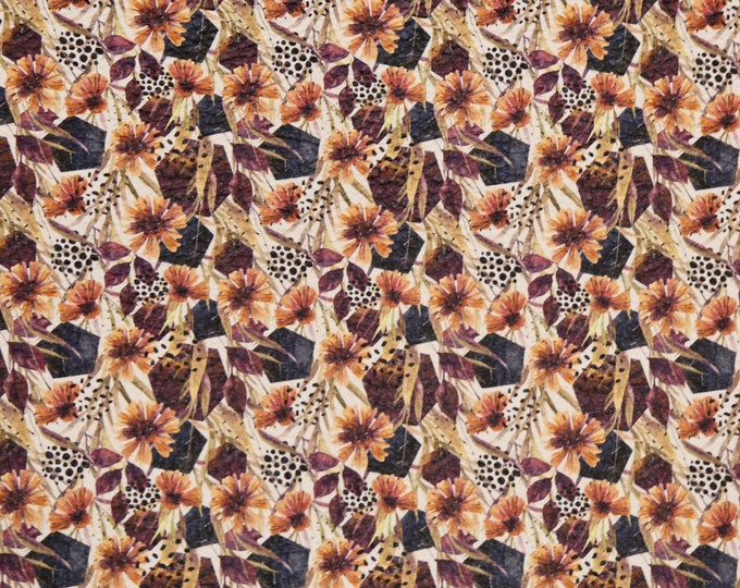 """Leather 12""""x12"""" AUTUMN Floral Arrangement all Fall colors Cowhide 2.75-3 oz/1.1-1.2 mm PeggySueAlso™ E4600-13 hides available"""