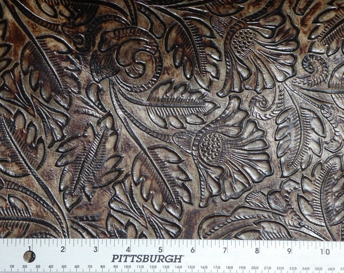 "Leather 12""x12"" Texas Rose Rich CHOCOLATE Western Embossed Cowhide 3-3.25 oz/1.2-1.3 mm PeggySueAlso™ E3838-04 hides too"
