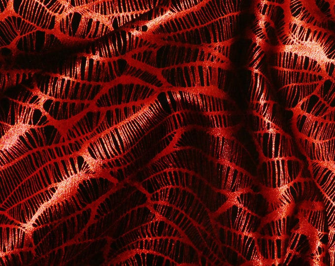 """Metallic Leather 8""""x10"""" Complex Spider Web RED / Black Soft Cowhide 3.5-3.75oz /1.4-1.5mm PeggySueAlso™ E3113-10 Hides too"""