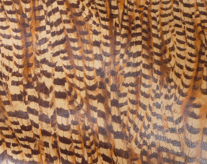 "Leather 8""x10"" Pheasant Feathers on CAMEL Cowhide 2.75-3 oz /1.1-1.2 mm PeggySueAlso™ E6720-01 Hides Available"