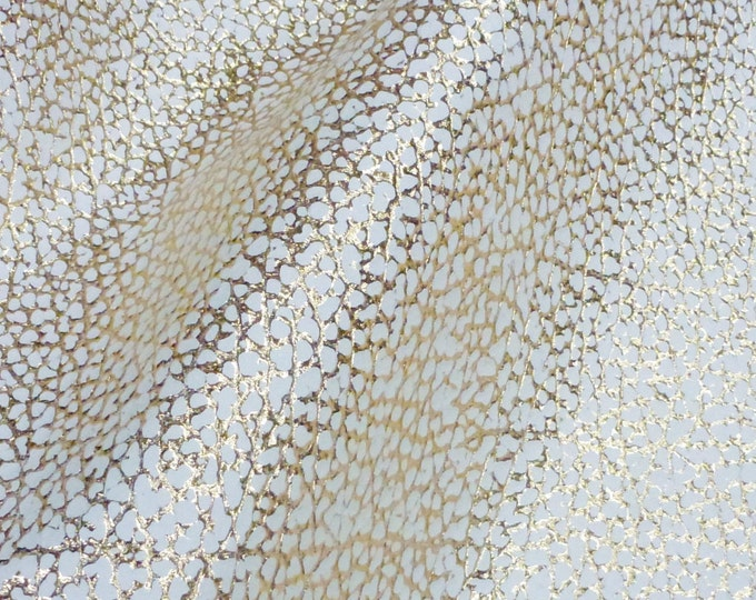 Leather 3 or 4 or 5 or 6 sq ft Mini DINOSAUR Print GOLD Metallic on IVORY Embossed Cowhide 2.5 oz /1 mm PeggySueAlso™ E3010-01