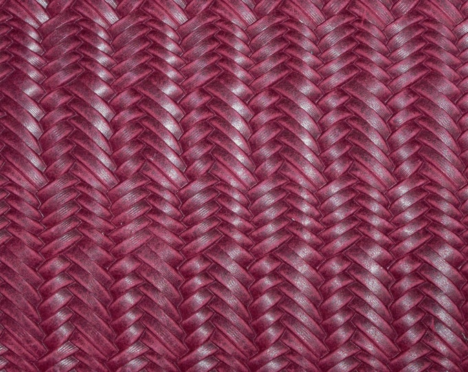 "Leather 5""x11""  Braided Italian Fishtail RASPBERRY Cowhide 2.5-3 oz / 1-1.2 mm #100 PeggySueAlso™ E3160-08"