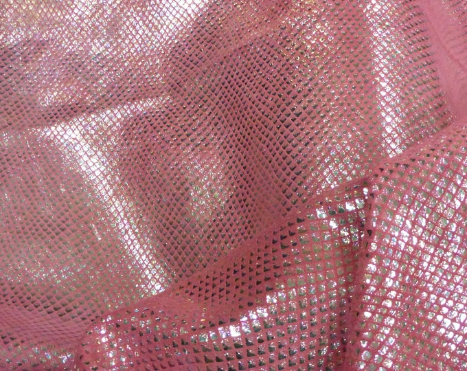 """Leather 12""""x12"""" Mermaid fish scales MISTY PINK  Oil Slick Iridescent on Reversible H0T PINK Pearlized Cowhide PeggySueAlso™ E3410-07 Limited"""