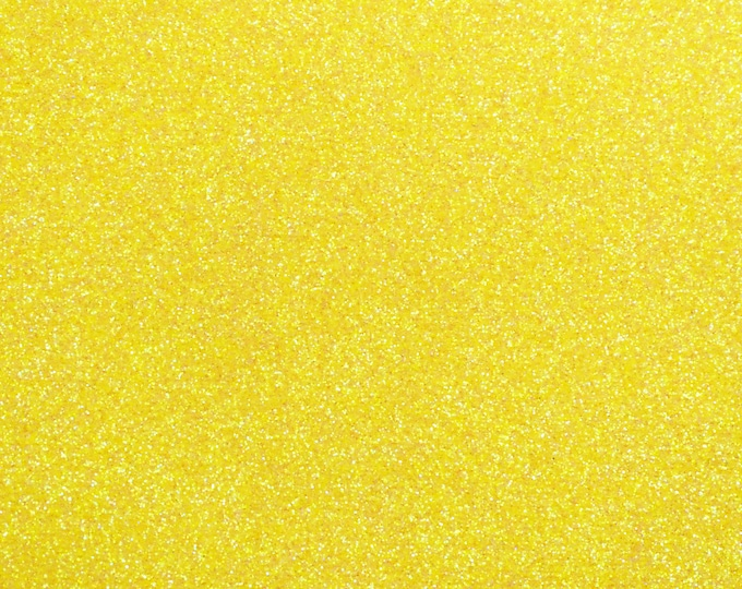 """8""""x10"""" Fine GLITTER (not chunky) Glorious SUNSHINE YELLOW Fabric applied to White Leather 5-5.5oz/ 2-2.2 mm PeggySueAlso™ E4355-23"""
