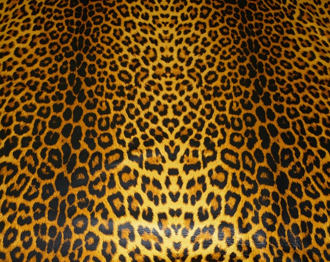 """Leather 12""""x20"""" or 10""""x24"""" or ? Cheetah / Leopard OCHRE large print on Golden Cowhide NOT Hair-On 2-2.5oz/0.8-1 mm PeggySueAlso™ E1650-04"""