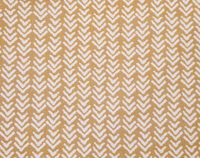 "Leather Version 8""x10"" ROUGH CHEVRON with white on MUSTARD 3-3.5oz /1.2-1.4 mm PeggySueAlso™ E2505-04"