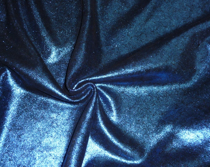 "Metallic Leather 12""x20"" ... Vintage Crackle ROYAL BLUE on BLACK Cowhide 3-3.5oz/1.2-1.4mm PeggySueAlso™ E2844-35"