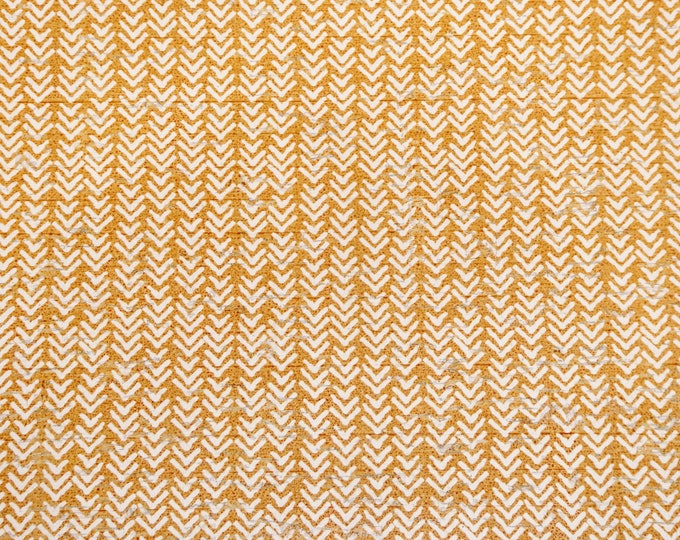 "Cork 8""x10"" ROUGH CHEVRON with white on MUSTARD CoRK applied to leather 4 body/strength Thick 5.5oz/2.2mm E5610-209"