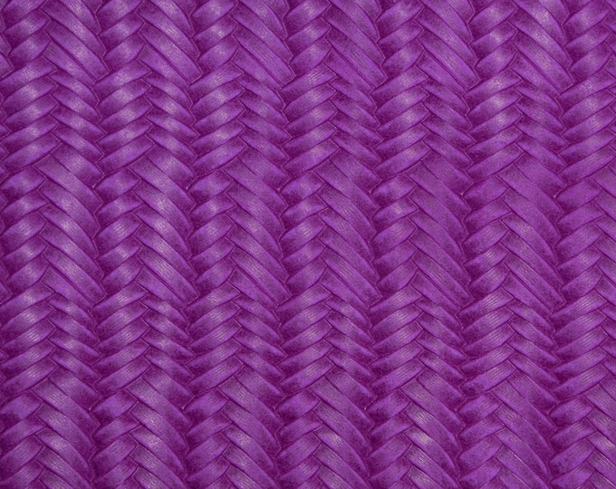 "Leather 12""x12"" Braided ITALIAN Fishtail DARK MAGENTA Cowhide 3-3.5 oz / 1.2-1.4 mm PeggySueAlso™ E3160-10 Hides available"