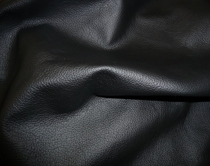 "Leather 12""x12"" Divine BLACK Top Grain Cowhide 2.5 oz / 1 mm PeggySueAlso™ E2885-24 hides available"