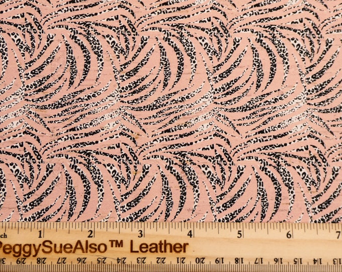 """CoRK 8""""x10"""" LEOPARD STREAKS on Blush FLESH Cork applied to Leather for body/strength Thick 5.5oz/2.2mm PeggySueAlso™ E5610-324"""