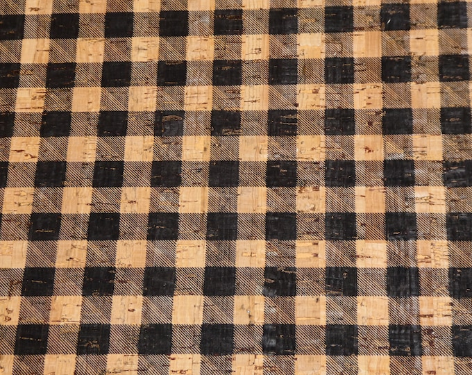 """New Version Cork 8""""x10"""" BLACK & CORK Tartan PLAID applied to real leather Thick 5.5oz/2.2mm PeggySueAlso™ E5610-89 hides too"""