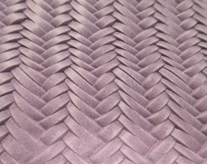 """Leather 12""""x12"""" Braided ITALIAN Fishtail ORCHID Embossed Cowhide 2.5oz / 1 mm PeggySueAlso™ E3160-02 Hides available"""