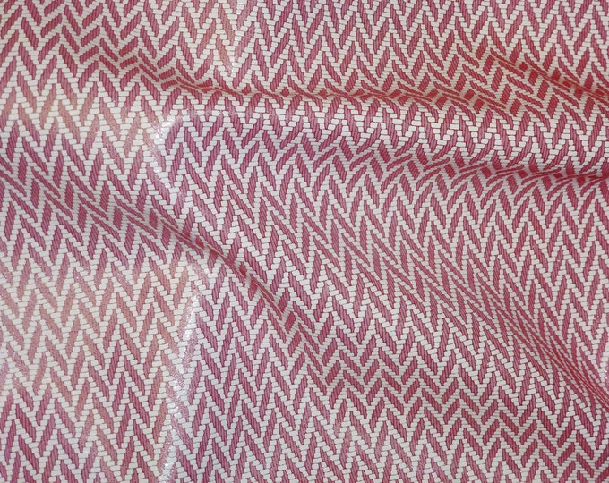 """Metallic Leather 8""""x10"""" Chevron Light RED and WHITE Cowhide 3-3.5 oz / 1.2-1.4 mm PeggySueAlso™ E1601-06"""