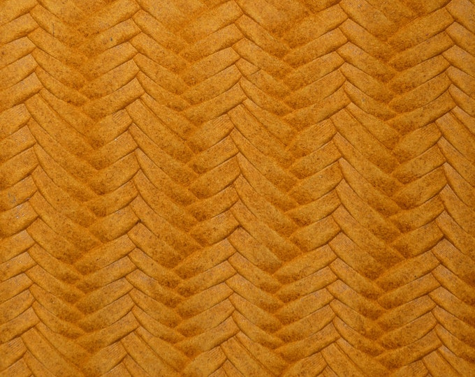 "Leather 8""x10"" Braided Fishtail MUSTARD slightly Marbled Soft Cowhide 3-3.5oz/1.2-1.4mm PeggySueAlso™ E3160-28 hides available"