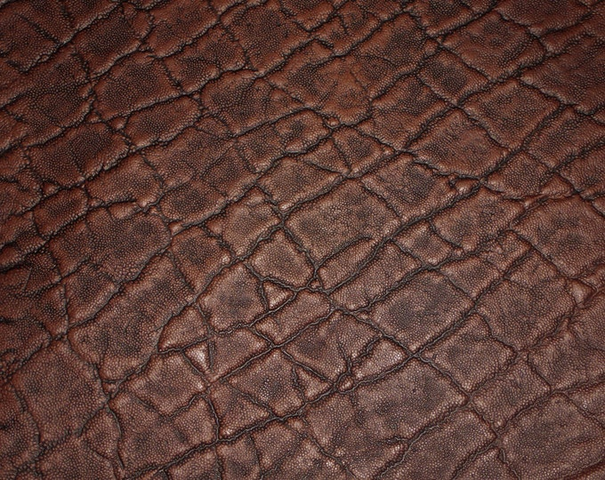 Leather CLOSEOUT Elephant CHOCOLATE BROWN Embossed Cowhide 2.5-3oz/1-1.2 mm #100 PeggySueAlso™ E2899-15